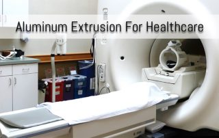 MRI Machine with Label 'Aluminum Extrusion for Healthcare' across the top