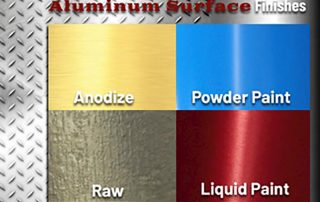 Chart of aluminum surface finishes including anodized, powder paint, raw and liquid paint