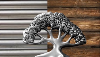 aluminum tree with wood on one side of the background and rows of steel on the other side