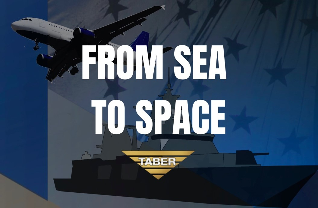 """Military-influenced design backdrop with navy and gold accents with the words """"from sea to space"""" in the forefront, along with the Taber Extrusions company gold triangle logo on top."""