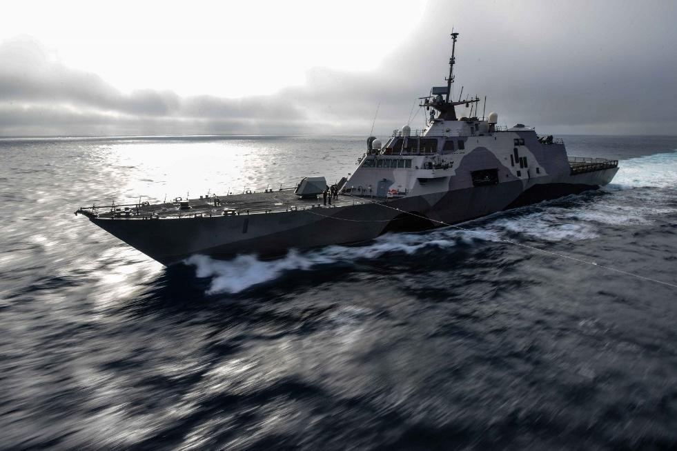 USS Freedom, a littoral combat ship which utilizes aluminum construction of the deck and superstructure. One of the competing designs for the FFG(X) program.