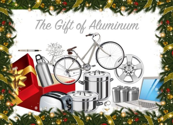 Christmas postcard showing various aluminum products such as a computer, bicycle, and toaster. Reads: the gift of aluminum.