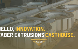 "This is an image of Taber's aluminum casting facility, with a gold overlay and the text ""Hello, Innovation. Taber Extrusions Casthouse."""