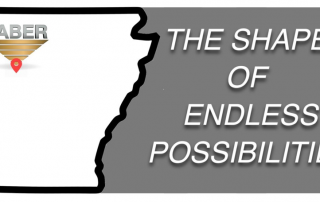 """Taber's Russellville, Arkansas location marked on a map and the words """"The Shape of Endless Possibilities"""""""