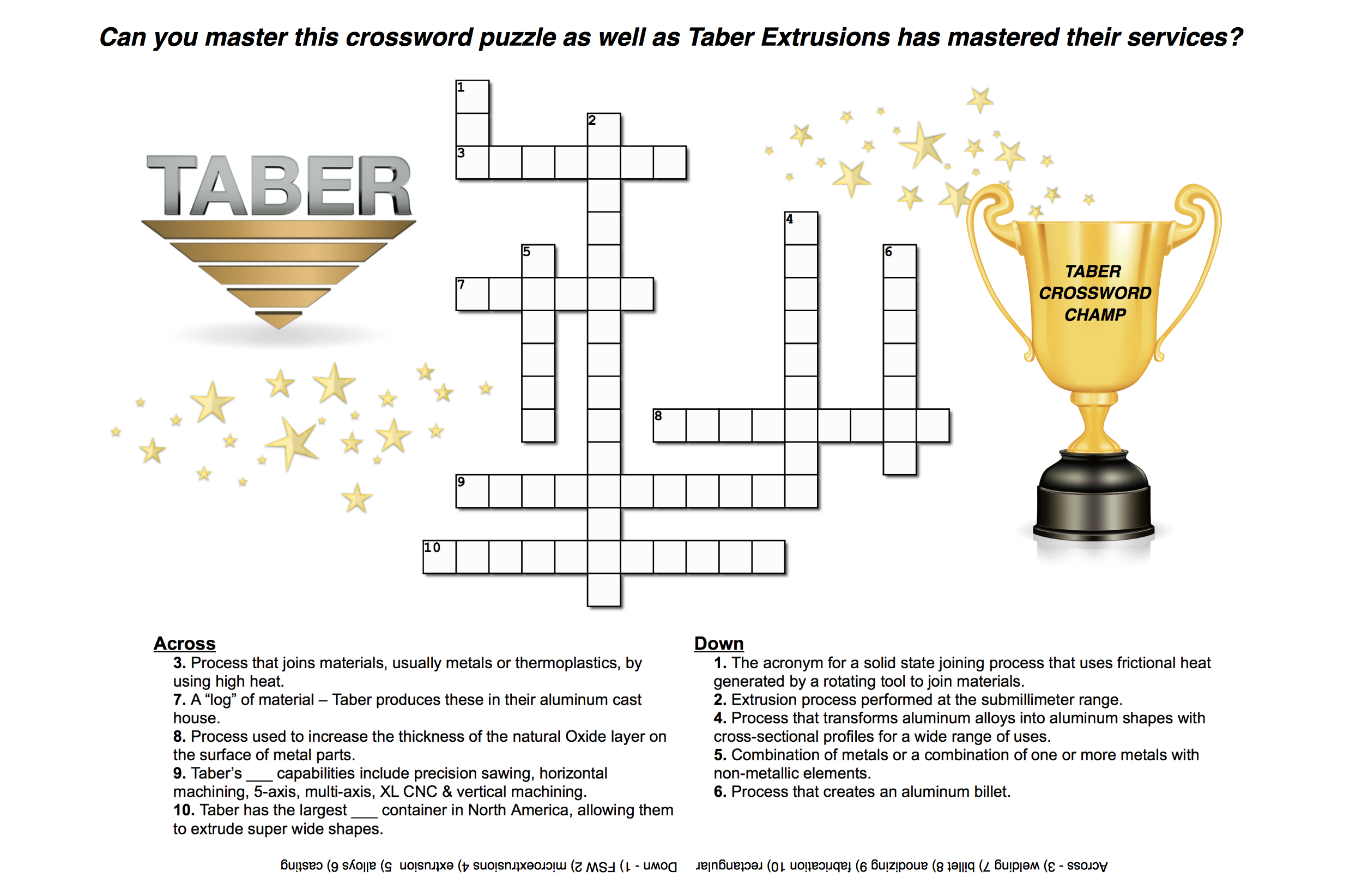 Crossword puzzle about Taber Extrusions services