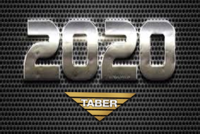 """2020"" written in shiny, silver-colored metal – with the inverted gold Taber Extrusions logo positioned underneath."