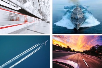 4 photographs: upper left – a high-speed white rail train with a red stripe zooming through a bright train station in a dynamic blur. Upper right – Fincantieri Marinette Marine Littoral Combat Ship plowing through a deep, dark ocean. Lower right – the view from a car roof as it speeds down the expressway towards a beautiful orange sunset. Lower left – A jet airplane high in the air creating stark white contrails against a clear turquoise sky.