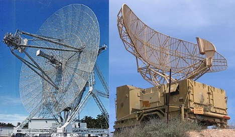 Two images side-by-side, on left: long-range radar antenna used to track space objects and ballistic missiles. On right: A military radar antenna which rotates steadily, used for aircraft detection.