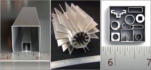 Three side-by-side images illustrating how strikingly small microextrusions are. Various aluminum profiles are lined up creatively next to measuring rulers.