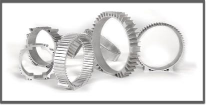A variety of 3D rendered extruded aluminum motor housing images from the Taber Extrusions website.
